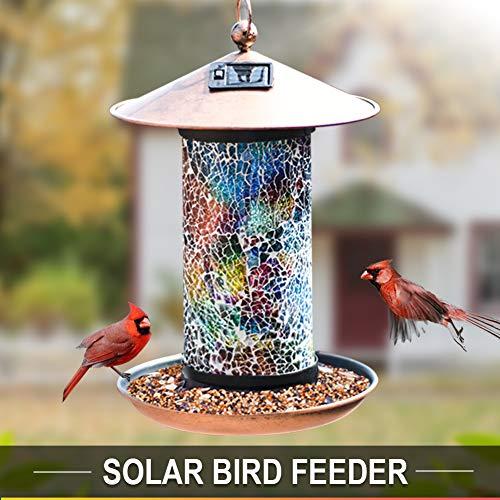 (Artbirdfeeder Solar Bird Feeder Hanger, Solar Lantern Oriole Bird Feeder Bright Lighting Hanging Bird Feeder Waterproof LED Garden Light Dazzling Bronze Bird Feeders for Outside (Rainbow))