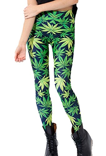 Women Green Marijuana Weed Leaf Graphic Print Pattern Leggings Tight Pants