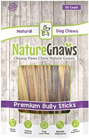 Nature Gnaws Large Bully Sticks 5-6 inch – 100 Natural Beef Dog Chews