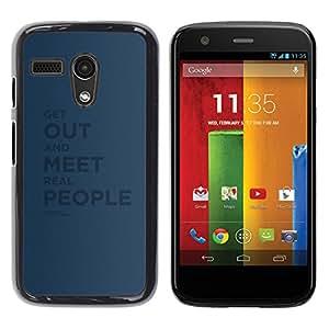 TECHCASE**Cubierta de la caja de protección la piel dura para el ** Motorola Moto G 1 1ST Gen I X1032 ** Real People Quote Relationship Friendship
