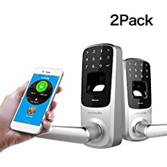 "2 Pack! More for your family!Ultraloq UL3 BT smart lever lock is designed to be ""RealKeyless"" for maximum flexibility and convenience. You are free to use fingerprint, code, key or smartphone to unlock.You can just knock on your phone to open..."