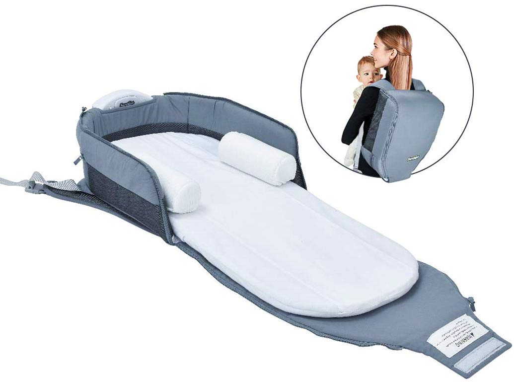 4 in 1 | Portable Bassinet | Foldable Baby Bed | with Light and Music Baby Lounger Travel Crib Infant Cot Newborn As A Diaper Bag Changing Station Seat Tummy Time Folding Crib Nursery Co-Sleeper Nest Forstart