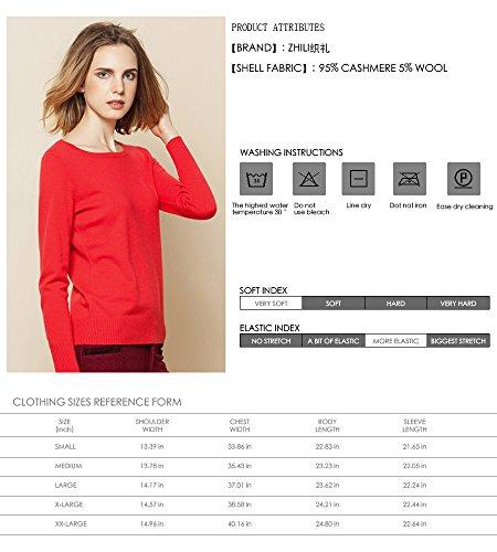 100 Donna Cashmere girocollo Zhili Bianco Maglione qp0R5nxzwt