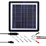 MEGSUN 15W Solar Battery Trickle Charger Mono & Car Battery - Portable 12V Solar Panel Battery Maintainer with Cigarette Lighter Plug, Battery Charging Clip Line, for Automotive, Marine, RV, Trail