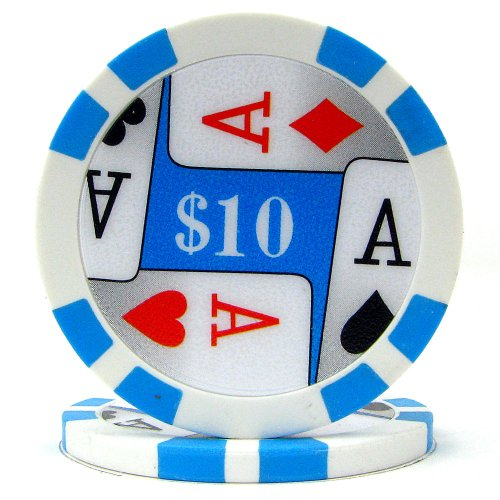 Trademark Poker Premium 4 Aces 100 Poker Chips (10-Piece), 11.5gm (Poker Chip Labels)