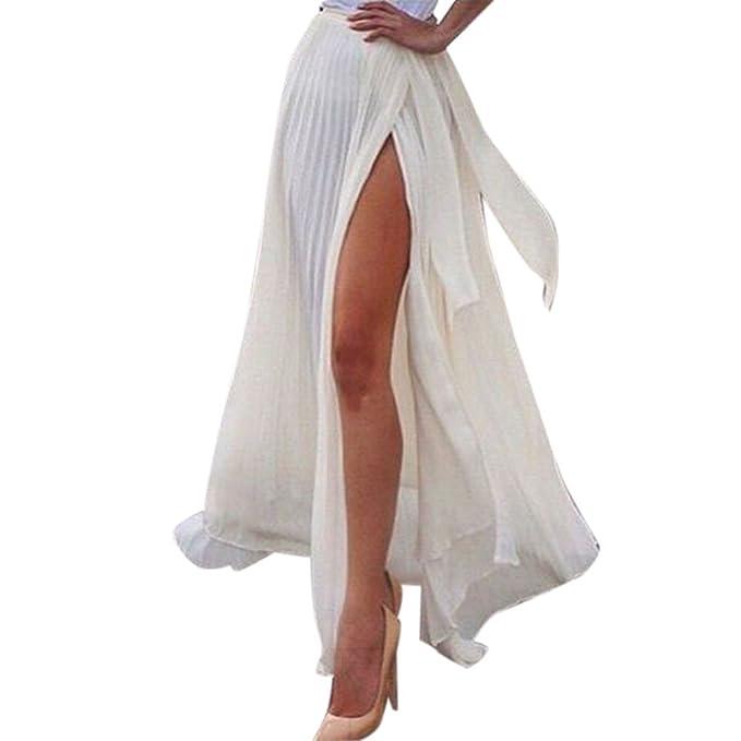 Conquro-falda Plisada Blanca Dividida Delgada Delgada Falda Gasa ...