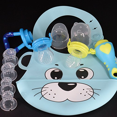 Price comparison product image Baby Bib for Boys [Non Stain Silicone] + Puree Baby Fruit Feeders (2 Designs) / Pacifiers / Teething Toys with Small (2),  Medium (2),  Large (2) Feeder Tips