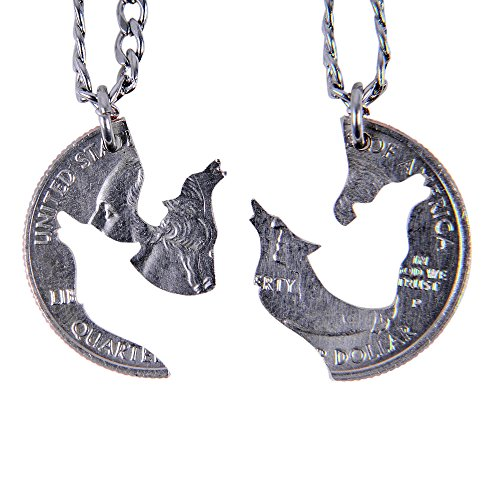 MaryCrafts Set Hand Cut coin Wolf Necklace Howling Wolves Necklace Interlocking Necklace Jewelry Relationship BFF (Cut Wolf)