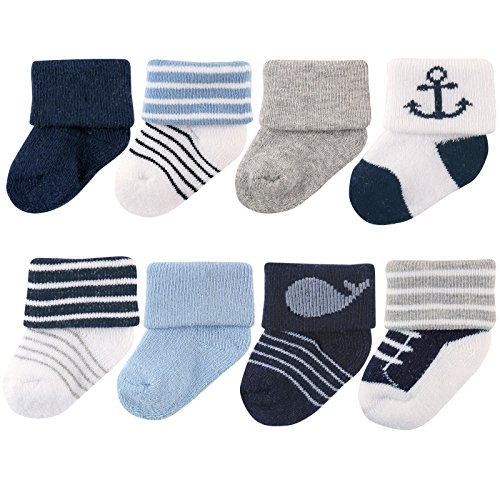 Luvable Friends Baby 8 Pack Newborn Socks, Nautical, 0-6 Months