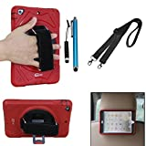Cellular360 Shockproof Case for Apple iPad Mini 1 iPad Mini 2 iPad Mini 3 , Car Headrest Mount Case with 360 Degrees Rotatable Kickstand, Adjustable Handle and Shoulder Strap (Red)