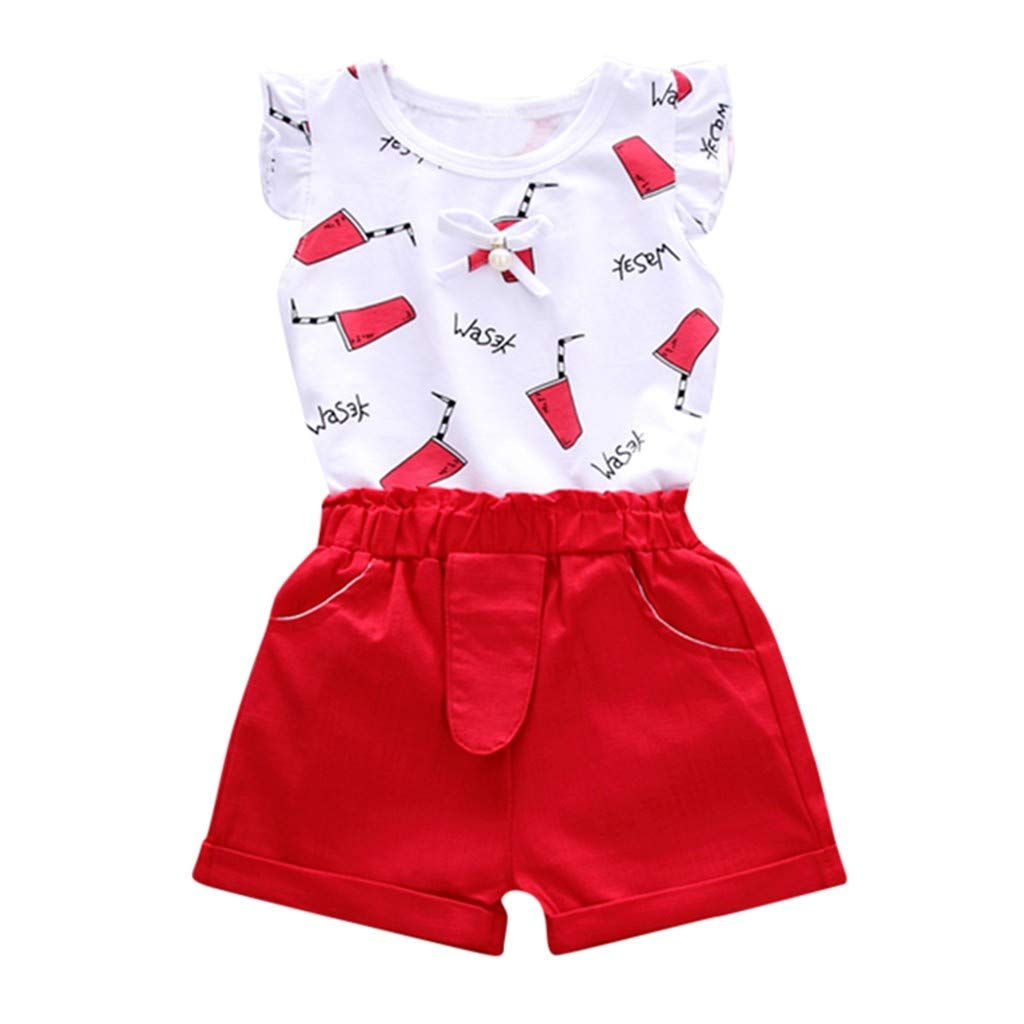 NUWFOR Children Baby Boys Girl Fly Sleeve Cartoon Letter Tops+Shorts Set Outfit(Red,6-12 Months)