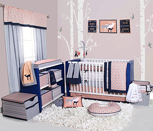 Bacati Olivia Tribal 10 Piece Nursery-in-a-Bag Cotton Percale Girls Crib Bedding Set with Bumper Pad, Coral/Navy