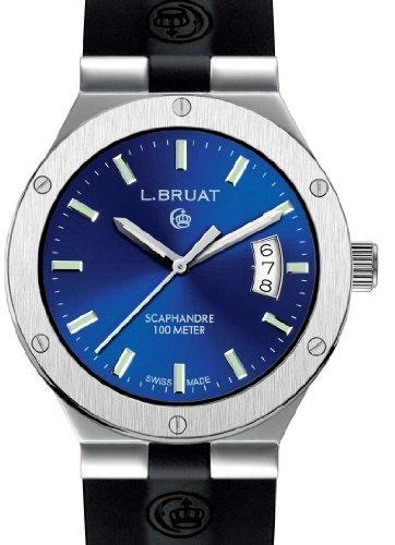 Suiza Reloj Deportivo L. Reloj de hombre de Bruat Diámetro 40, color azul metálico: Amazon.es: Relojes