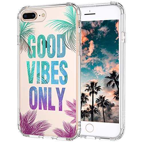MOSNOVO iPhone 7 Plus Case, Clear iPhone 8 Plus Case, Good Vibes Only Tropica Leaves Quotes Clear Design Transparent Back Case with TPU Bumper for iPhone 7 Plus (2016) / iPhone 8 Plus (2017)
