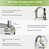 Combination Lock, KeeKit 4 Digit Combination Padlock, Waterproof Combination Lock Set for School, Gym or Sports Locker, Door, Cases, Toolbox and Fences, Hasp Storage, Silver&Black, Pack of 2