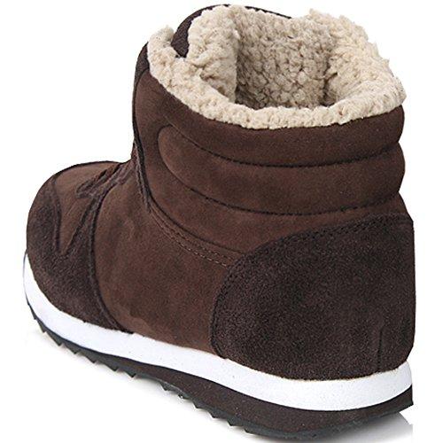 Nya Läder Enkelt Sätt Athletic Vintern Varm Snörning Kängor Womens Skor Brun