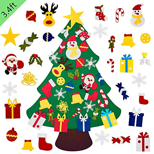 Kosiehouse DIY Felt Christmas Tree Set with 30pcs Detachable Ornaments, New Year Kids Xmas Gifts Handmade Door Wall Hanging Christmas Decorations, 3.4ft2.3ft (Handmade Ornaments Christmas)