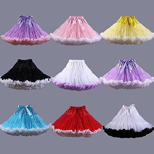 SCFL adulto de lujo suave de la gasa de la enagua de tul falda del tutú de las mujeres del tutú del ballet del traje de la danza de múltiples capas de la enagua de la falda hinchada gris
