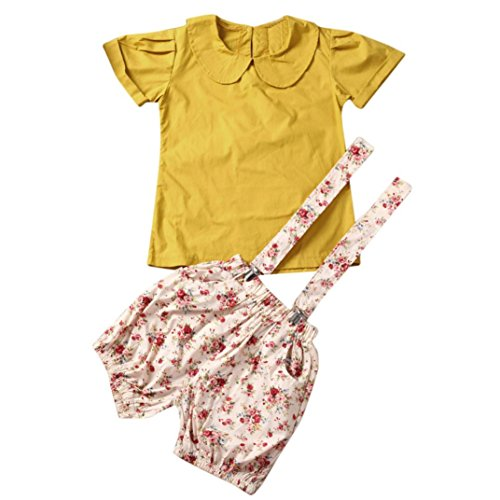 - Fineser 2PCS Kids Baby Girls Vintage Peter Pan Collar Short Sleeve T-Shirt+Suspender Shorts Pants Set (Yellow, 2 T)