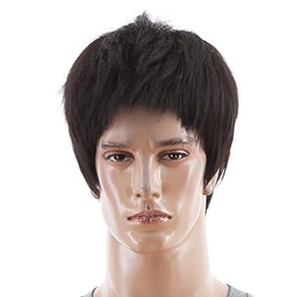 Hombres natural Para hombre colour negro completa de la peluca y poni cabello humano-completa