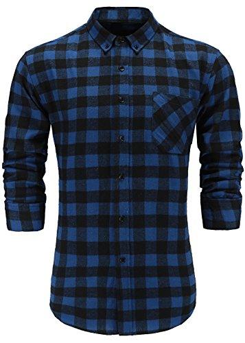 KateSui Mens Slim-Fit Long-Sleeve Button-Down Flannel Plaid Shirt