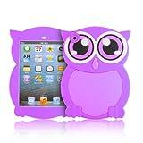 iPad Mini Case - Silicone TPU Animal Back Cover for iPad Mini 3rd, 2nd and 1st Generation, Purple Owl