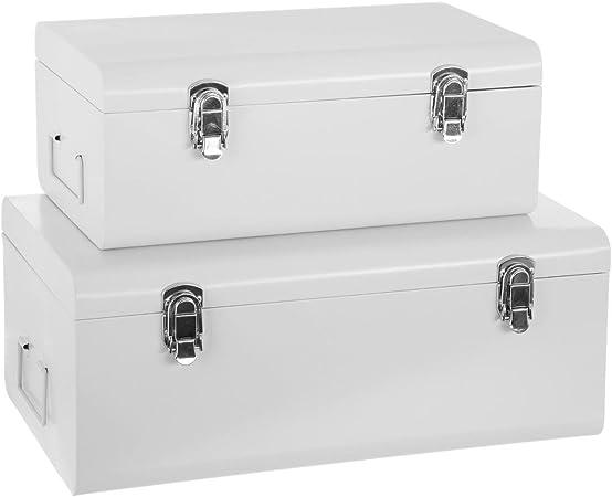 Atmosphera Set De 2 Coffres Malles De Rangement En Metal Esprit Cantine Coloris Blanc Amazon Fr Cuisine Maison