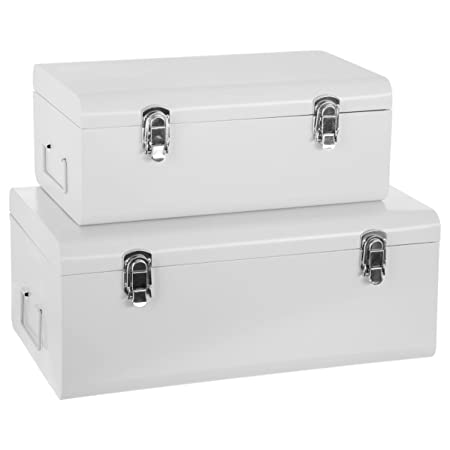 Atmosphera Set Of 2 Metal Storage Chests   Trunk Design   Colour WHITE