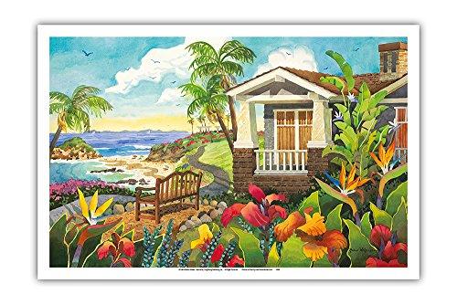 The Montage - Laguna Beach California - Seaside Bench Ocean View - from an Original Watercolor Painting by Robin Wethe Altman - Master Art Print - 12in x - Original Painting Art Beach