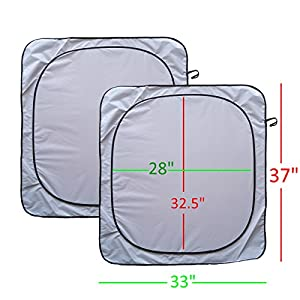 Windshield Sun Shade with for Car Front Window Truck Suv Minivan Luxurious-210TNylon Auto Reflector Visor Cover Screen Fits Various Vehicles 2 pc with Borders for Extra Coverage