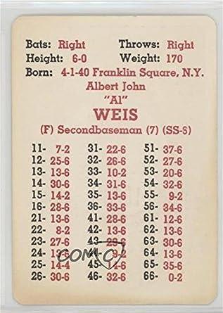 Amazoncom Al Weis Baseball Card 1967 Apba Baseball 1966 Season