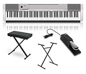 casio cdp 130 digital piano silver with stand sustain pedal and deluxe keyboard bench. Black Bedroom Furniture Sets. Home Design Ideas
