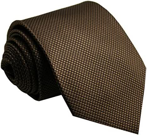Shlax&Wing Mens Tie Solid Color Dark Brown Chocolate Necktie Silk Classic