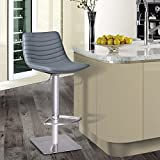 Armen Living LCLUBAGRB201 Luna Swivel Barstool in Grey Faux Leather and Brushed Stainless Steel Finish