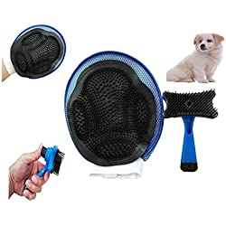 FurBetter & FurBest Pet Grooming Collection - Dematting Deshedding Tool for Loose Undercoat Tangles Mats and Knots - Rake Brush Comb for Dog Fur & Cat Hair (Blue Groom Mitt + Self Clean Brush Pack)