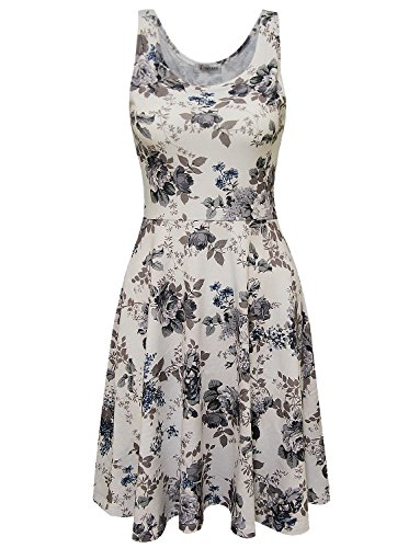 Tom's Ware Womens Casual Fit and Flare Floral Sleeveless Dress TWCWD054-WHITEGRAY-US - Sleeveless Dress Flare