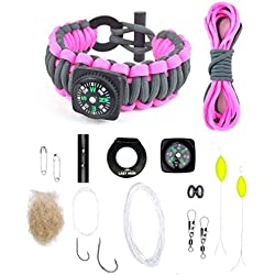 Last Man Survival Gear Paracord Kit Bracelet, Small (6-Inch-by-7.5-Inch), Gunmetal and Pink With Compass