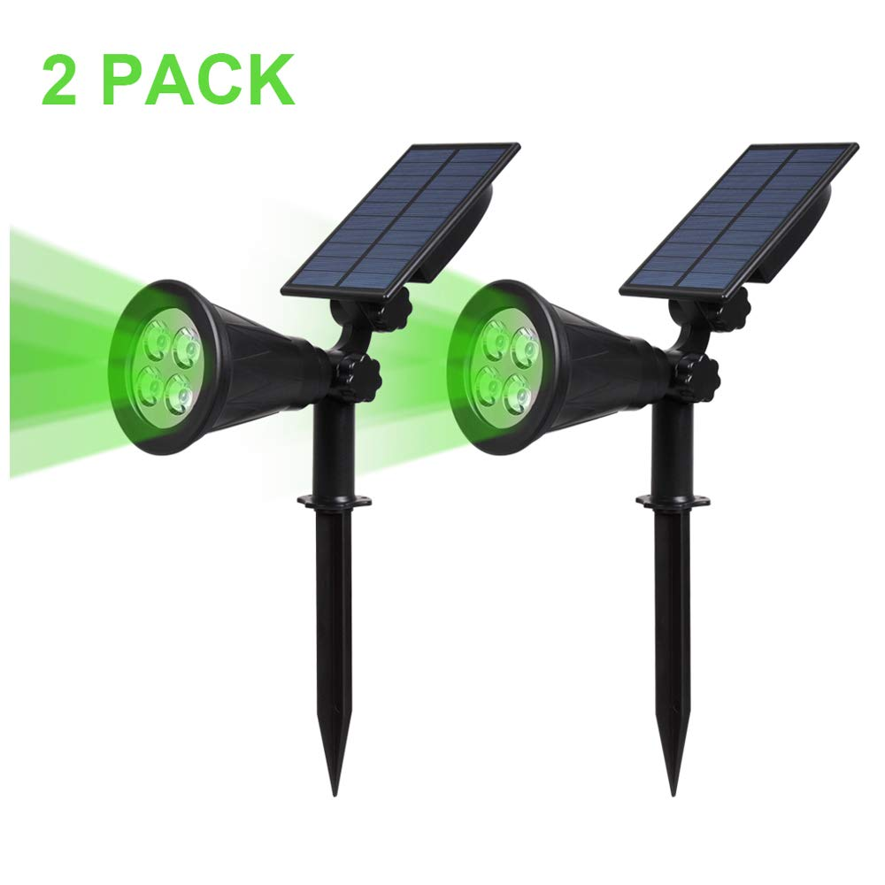T-SUN Solar Spotlight LED Outdoor Wall Light, IP65 Waterproof, Auto-on at Night/Auto-Off by Day, 180°Angle Adjustable for Tree, Patio, Yard, Garden, Driveway, Stairs, Pool Area (Green-2pack)
