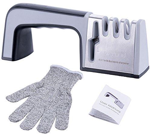 Kitchen Knife Sharpener - Wifond Chef Knife Scissors Sharpening System with Cut-Resistant Glove, 4-stage Blade Sharpener Non-Slip Base