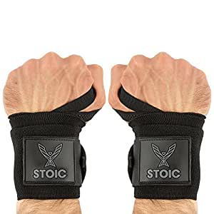 Wrist Wraps weightlifting, powerlifting, cross training, bodybuilding with thumb loop. Professional grade for gym workout, men and women weight lifting and strength training by Stoic - Black 18 Inch