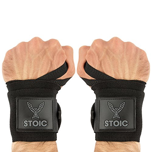 Wrist Wraps weightlifting, powerlifting, cross training, bodybuilding with thumb loop. Professional grade for gym workout, men and women weight lifting and strength training by Stoic - Black 36 Inch