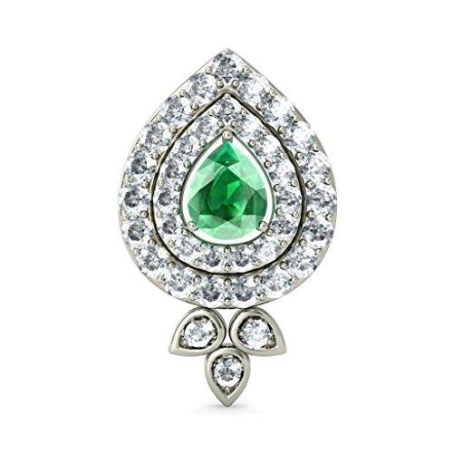 18K Or Blanc 0,48CT TW Round-cut-diamond (IJ | SI) et Boucles d'Oreille à tige Émeraude