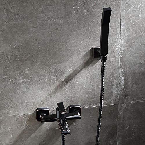 浴槽の蛇口 黒い浴槽のシャワーセットの浴室の熱く、冷たい浴槽のコックのシャワーセットレトロ-あ