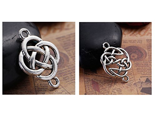 Celtic Knot Connector Findings, 56 pc (28 of Each) Silver Tone Pendants -
