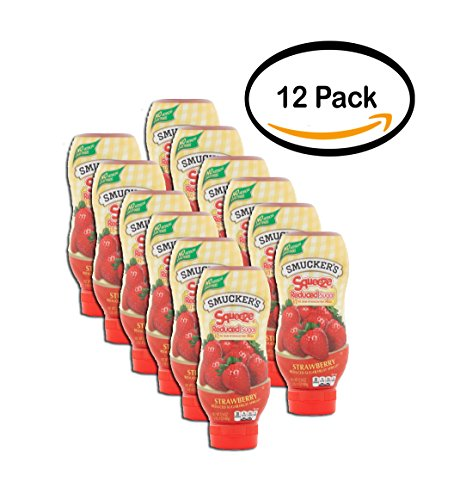 PACK OF 12 - Smucker's Squeeze Strawberry Reduced Sugar Fruit Spread, 17.4 oz by Smucker's