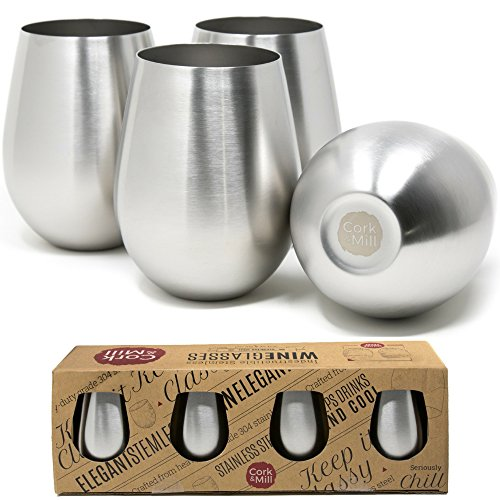Unbreakable Stemless Wine Glasses   Set Of 4 Stainless Steel Tumblers   18 Oz   Unique Wine Glasses By Cork   Mill