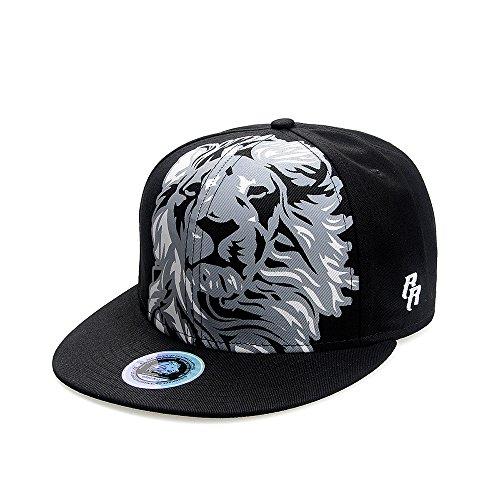 Riorex Hip hop caps Fashion Embroidery Baseball Cap for Men Adjustable Leather Belt Strapback Baseball Cap 1707B005 (Black-1)