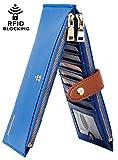 Chelmon Womens Genuine Leather Wallet RFID Blocking Credit Card Holder Zipper Purse(isabella blue)