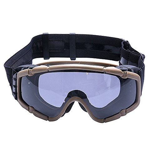 FMA Tactical SIBallistic Antifog Antidust Safety Goggles Glasses Eyewear with Fan and 1 Interchangeable Lens for Outdoor Airsoft Paintball Hunting Motorcycling Dark Earth
