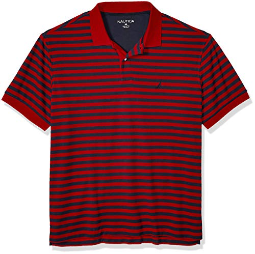 Nautica Men's Big and Tall Classic Fit Short Sleeve 100% Cotton Stripe Soft Polo Shirt, Red, 2XLT - Mens Basic Stripe Polo